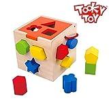 Tooky Toy Kinderspielzeug Steckwürfel mit 12 verschiedenen Formen aus Holz ab 3 Jahren mit Wasserfarbe ca 14x14x14 cm
