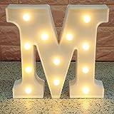 Broadroot 3D Englisch Buchstaben Form LED Nachtlicht Wandbehang Festzelt Zeichen Alphabet Licht Schlafzimmer Hochzeit Party Leuchte Deko Lampe (M)