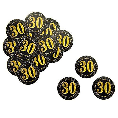 Oblique Unique® 18 x Konfetti Zahl 30 Rund in Schwarz Gold für Geburtstag Jubiläum Hochzeitstag Tisch Deko Streudeko - 30 Runden Tisch