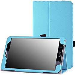 Moko Slim Folding Cover For Samsung Galaxy Note Pro 12.2, Tab 3 Lite 7.0, Tab 4 7.0, Tab 4 8.0, Tab 4 10.1, Tab Pro 8.4, Tab Pro 10.1 Light Blue Bright Blue Pour Galaxy Tab 4 8.0
