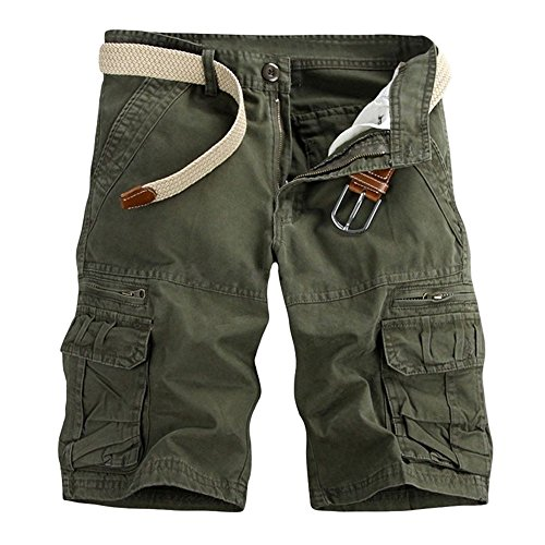 Aiserkly Männer Casual Pure Color Outdoor Pocket Strand Arbeitshose Cargo Shorts Hose Armeegrün 31 3-pocket-cargo