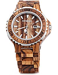amazon co uk bewell watches gblife bewell zs 100bg mens wooden watch analog quartz movement date display retro style