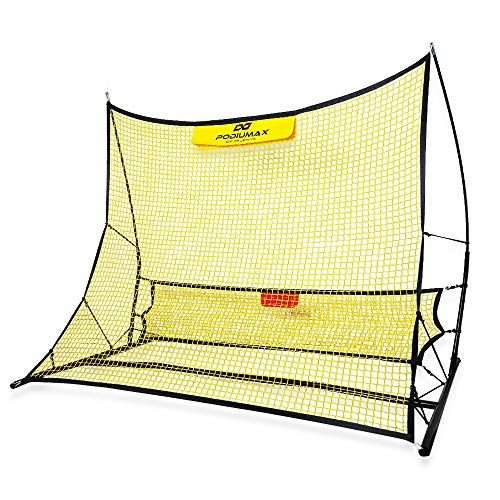 PodiuMax tragbar Multi Fußball Rebounder-Netz | 2 in 1 Kickback Rückprallwand Fussballgoal | Solo Fußball Kick Trainer | 180 x 140 cm | haltbar und leich aufzubauen | Trainingsübung und Fußballschuss -