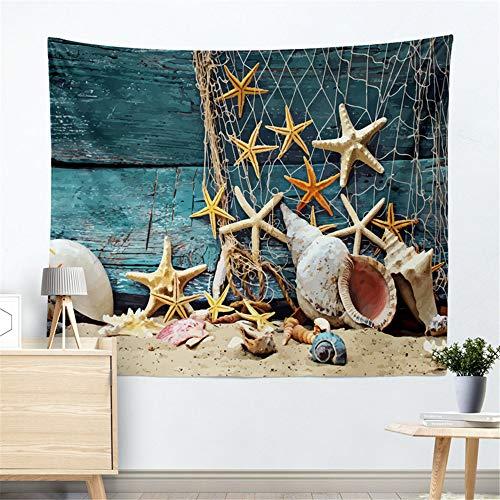 JokerDmask Tapisserie Wandbehang Gamasche Starfish Shell Fischernetz Blau Boot Schöne Moderne Wohnzimmer Küche Schlafzimmer Schlafsaal Vorhang Tischdecke, 150 cm * 130 cm (Rosa Boot-gamaschen)