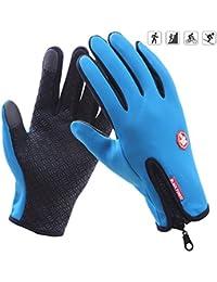 Guantes de pantalla táctil de deportes al aire libre de invierno cálido forrado antideslizante a prueba de viento para correr ciclismo guantes de invierno (L (ancho de la palma: 8 - 9cm), Azul)