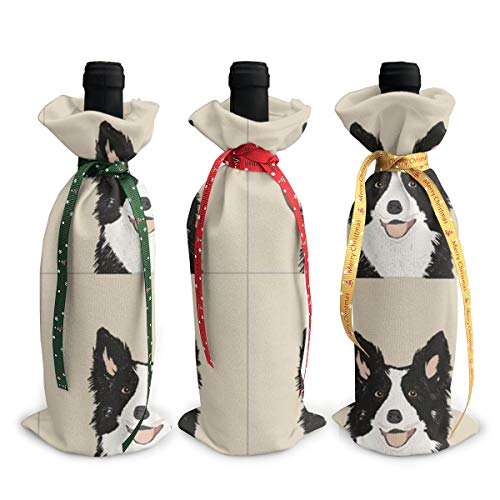 Wine Bags Border Collie Dog with Cut Lines Dog Panel Dog Cut Sew Champagne Wine Bottle Bags Covers for Wedding Party Holiday 3 Pieces Set -