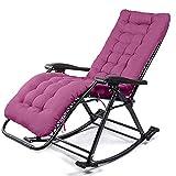 HUIFA Schaukelstuhl-Mittagspause Faltender Ruhesessel-fauler Stuhl-älterer Stuhl Der Lehnenden Couchfreizeit Erwachsenen (Farbe : Pearl Cotton pad (Purple))