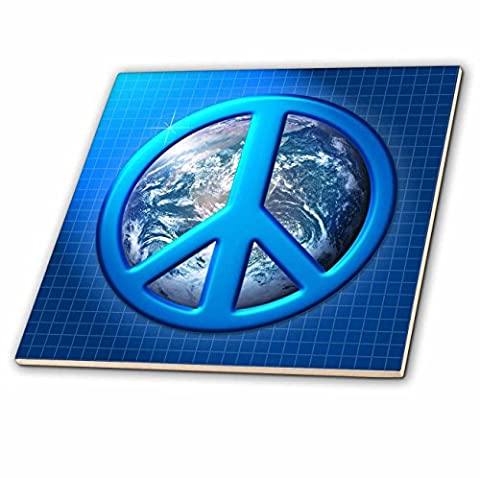 3dRose LLC ct181461 Peace on Earth large Blue Peace Sign Over The Planet Earth, Ceramic Tile, 4Inch