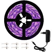 Onforu 5M Luz UV Tiras Cadenas LED Ultravioleta 300 LEDs 12V 2835 SMD Luz Negra, Adaptador Incluido, Iluminación Interior Flexible No-Impermeable para Bar Club DJ Disco Fiesta KTV Pintura Corporal
