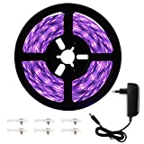 Onforu 5M Luz UV Tiras Cadenas LED Ultravioleta 300 LEDs 12V 2835 SMD Luz Negra, Adaptador Incluido, Iluminación Interior Flexible No-Impermeable para Bar Club DJ Disco Fiesta KTV Pintura Corporal
