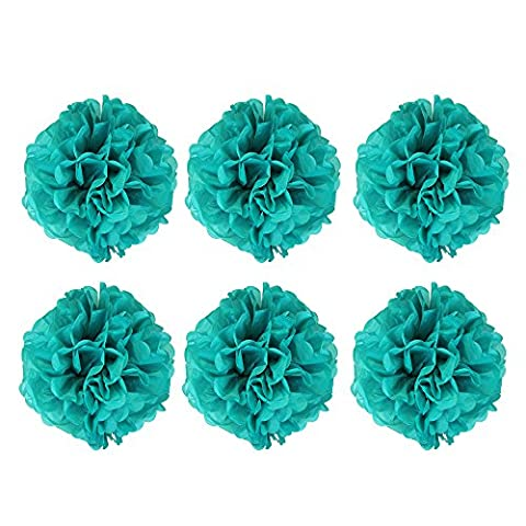 Alxcio 6 Pack Teal Tissue Paper Flower Pompoms Balls for Wedding Birthday Party Room Chrismas Decoration (14Inch)