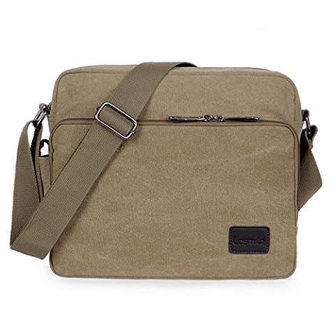 Umhängetasche,LOSMILE Schultertasche Messenger Bag, Unisex Casual Vintage Stoff Rucksack.(khaki)