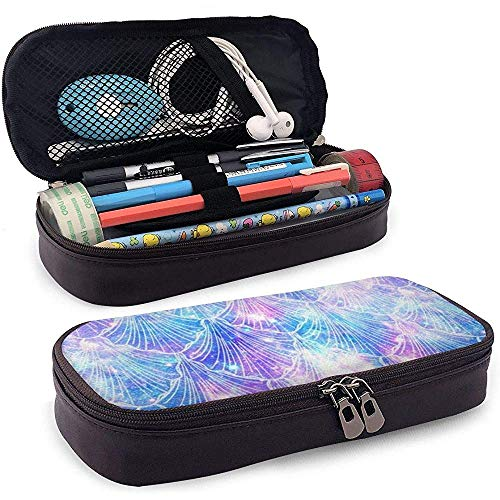 Meerjungfrau Queues Galaxy Space Motiv PU Leder Bleistift Tasche Tasche Etui Etui für Büro Schule Studenten Geldbeutel Kosmetiktasche
