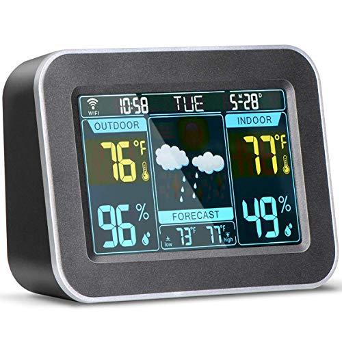 TOOGOO Drahtlose Wetter Vorhersage Station, Digitales Farb Wetter Thermometer Barometer für Den Innen Bereich im Freien mit Temperatur-, Feuchtigkeits Monitor, Wecker