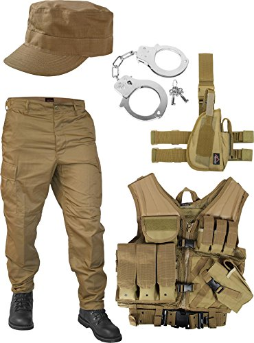 United States Marine Corps Kostüm Set bestehend aus Weste, Hose, Holster, Handschellen und Feldmütze Farbe Coyote Größe (Coyote Kostüme)
