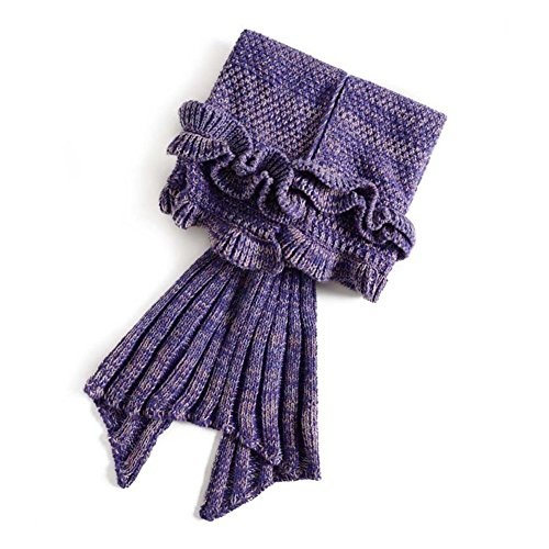 Mermaid Schwanz Blanket, ElecForU Handgemachte Gestrickte Nixeendstück Decke Sofa Quilt Wohnzimmer Decke für Erwachsene und Kinder, Alle Saison Schlafsäcke