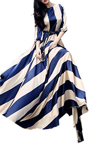 Zeagoo Reizvolle Frauen-Sommer-Streifen Boho lang Maxi Abend-Partei-Cocktailkleid Blau und Aprikose