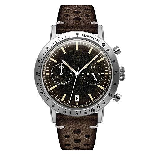 Undone Urban Tropical Caribbean Hybrid Chronograph Quarz Mechanische Edelstahl Leder Bronze Braun Herren Uhr