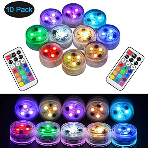 r LED Leuchten Tauch Multicolor 100% Wasserdichte LED Kerze Teelicht CR2450 Stimmungslicht Batteriebetrieben mit IR-Fernbedienung für Vase Schüsseln Schwimmbad Aquarium Party ()