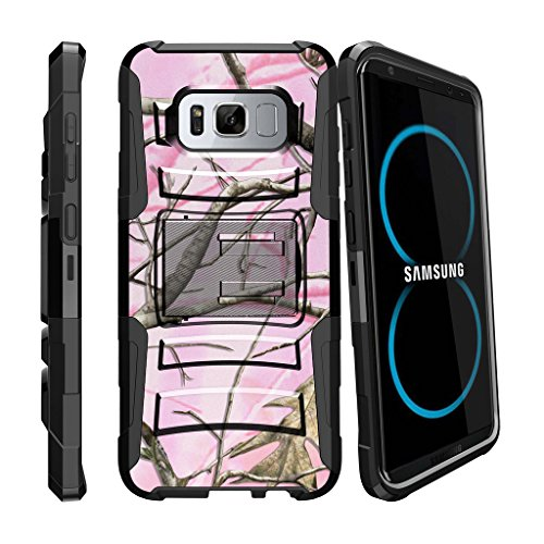 Fall-combo-pack (miniturtle Fall Kompatibel w/Samsung Galaxy S8 (sm-g950) Gürtelclip Case Dual Layer [Clip Armor] Schutz Hybrid Stand Hard PC/Silikon Combo Clip Fall, Pink Hunters Camouflage)