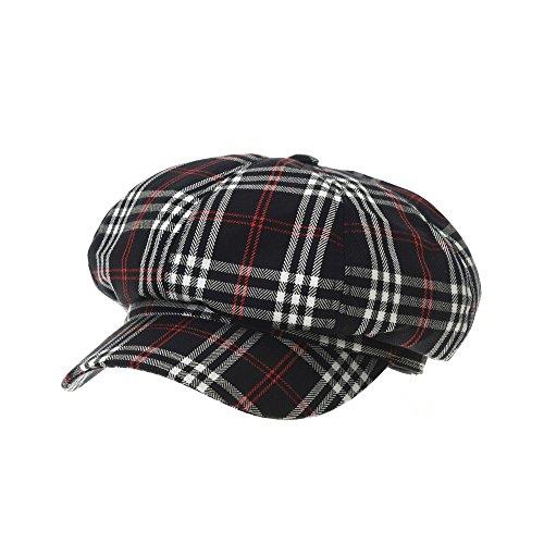 Check Red Snap (WITHMOONS Schlägermütze Golfermütze Schiebermütze Wool Beret Cap Tartarn Plaid Check Pattern Bakerboy Visor Hat KR3942 (Navy))