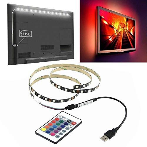NOBLJX LED-TV Backlight Strip Light + USB 24 Key Remote Control Control Bar Beleuchtung Kit 6 Modes High Intensität und Zuverlässigkeit Lange Lebensdauer für Dekoration Heim-Theater