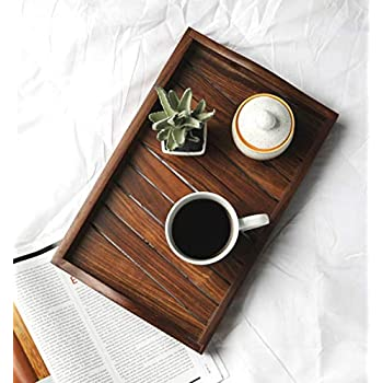 T one Wooden Handmade Serving Trays (14 * 9 inches)| Wooden sheesham Serving Tray | Serving Trays for Office | Serving Trays | Wooden Trays for Home by T one Woods
