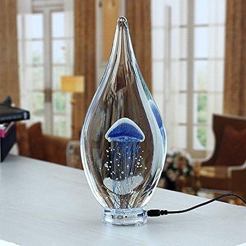 YMJ Creative meduse luminoso lampada minimalista moderno arredamento soggiorno arte del vetro luce notte,blu