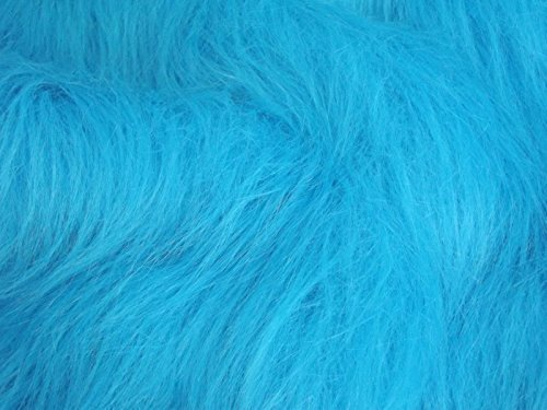 CRS Fur Fabrics Tela de Pelo sintético de Pelo Largo, Color Azul Turquesa