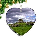 Hqiyaols Ornament Irlanda Dolmen Luogo di culto Tomba Ornamenti Natale A Forma di Cuore Foglio Ceramica Souvenir Giro Ciondolo Ornamento Regalo
