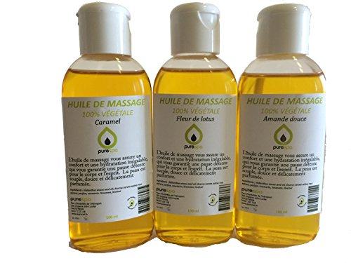 Coffret Modelage Sensuel- Mix de 3 flacons d'Huiles de massage assorties Parfumées Fleur de Lotus, Caramel et Amande Douce, 100% végétale - 3 x 100 ml