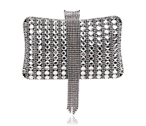 GSHGA Frauen-Handtaschen-Diamanten Handtasche Exquisite Bankett Abendtäschchen,Silver Black