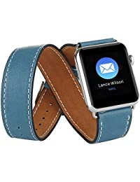 Elobeth Apple reloj banda de la banda de piel auténtica extra larga doble Tour pulsera piel correa de reloj para Apple iWatch, para iOS Devices, color azul