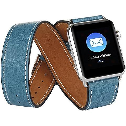 Elobeth Apple reloj banda de la banda de piel auténtica extra larga doble Tour pulsera piel correa de reloj para Apple iWatch, color azul