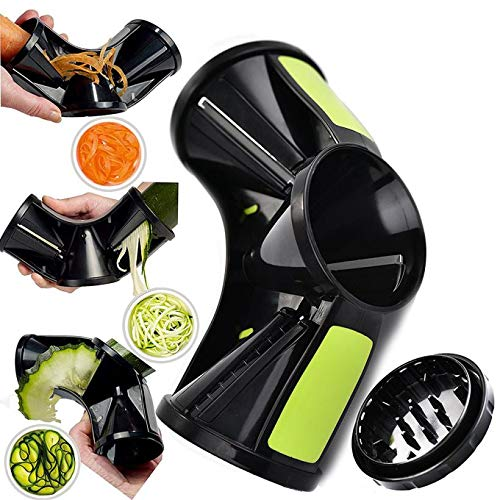 Wokee Spiralschneider Gemüseschneider 3 in 1 Spiralgemüsehobel Nudelmaschine Veggie Cutter Spaghetti Hand Gehaltenen Gemüse Spiralschneider Gemüsespaghetti Flexible Slicer