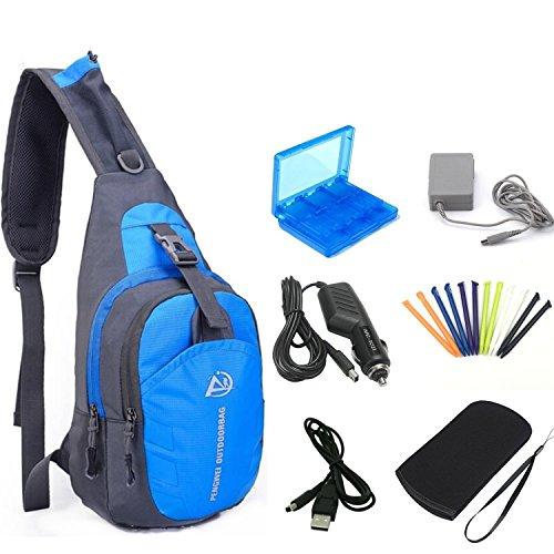 YB-OSANA 7-in-1-Reisetasche mit 3DS XL AC-Adapter, 3DS Kfz-Ladegerät, weiche Schutztasche, 3DS Game Card Case, 3DS XL Stylus und USB-Ladekabel für Nintendo 3DS XL