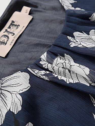 WAJAT Damen Langarmshirt O-Neck Chiffon Bluse Tops Tunika Gummiband Navy&Weiß Blumen