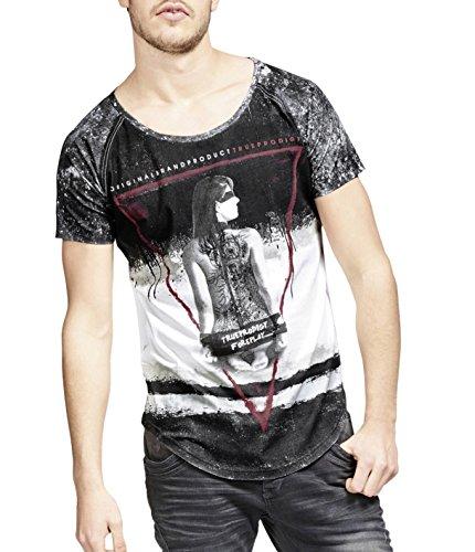 trueprodigy Casual Herren Marken T-Shirt mit Aufdruck, Oberteil Cool und Stylisch mit Rundhals (Kurzarm & Slim Fit), Shirt für Männer Bedruckt, Größe:L, Farben:Schwarz