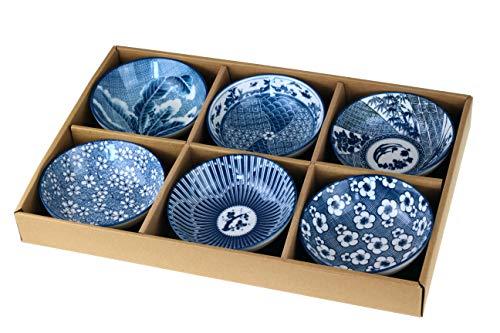 Urban GoCo Recipiente para el postre, con diseño japonés (Kobe), color azul y blanco