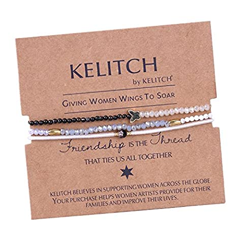 KELITCH Armband 3 Stück Achat Seed Perlen Glas Kristall Schmetterling Freundschaftsarmbänder - B