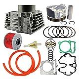 AHL Bore 85mm Zylinder Kolben & Ringe & Ölfilter & Kraftstofffilter & 40cm Ölschlauch Dichtungen Bausatz Kit für Honda XR400 1996-2004