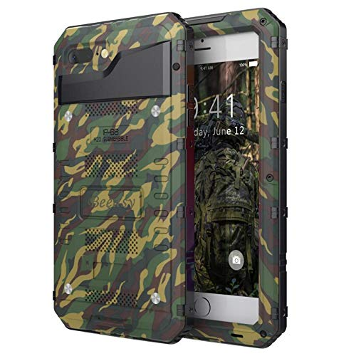 Beeasy Outdoor Hülle Kompatibel mit iPhone 7/8, [Wasserdicht] Stoßfest Handy Case Militärstandard Schutzhülle mit Displayschutz Waterproof Metall Heavy Duty Handyhülle für iPhone7 / iPhone8,Camouflage