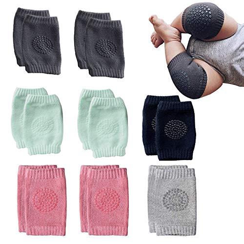 NEPAK 8 Paar Baby Knieschoner Krabbelhilfe mit Gummipunkte anti-Rutsch knieschoner kinder Jungen und Mädchen für 0-24 Monate