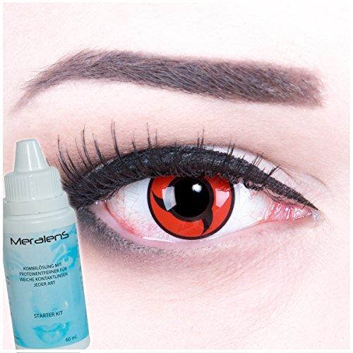 Halloween Kontaktlinsen Naruto (Meralens A0469 Itachi Kontaktlinsen mit Pflegemittel mit Behälter ohne Stärke, 1er Pack (1 x 2 Stück))