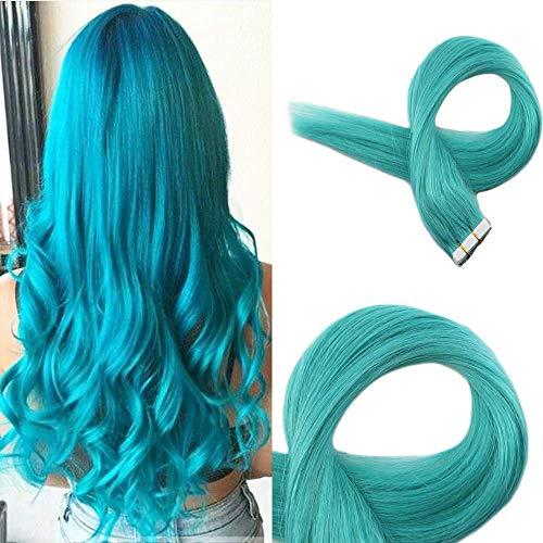Easyouth Band Auf Haarverlängerungen 24 Zoll 50g Farbe #Teal Tape In Hair Extensions Band In Remy Haarverlängerungen Wellig