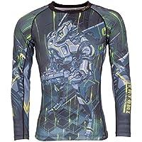 Tatami Rashguard Urban Warrior–Rash Guard BJJ MMA Grappling Funktions Camiseta Top de Compresión para Hombre, Color Negro, Tamaño Extra-Large
