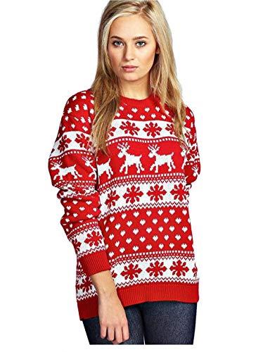 8055 605 Mens Xmas NEUHEIT Strick Weihnachten Reindeer Sweater Jumper (M/L, Snowflake-Red) -