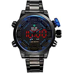Alienwork DualTime LED Analogue-Digital Watch XXL Oversized Wristwatch Multi-function Stainless Steel black black OS.WH-2309-B-4