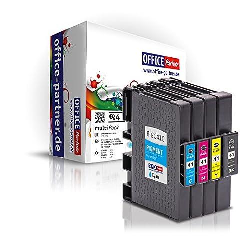 4er multiPack kompatible Druckerpatronen mit Chip zu Ricoh GC41 für Ricoh SG 2100N SG 3110 Gel Tinte