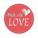 easydruck24de 24 Aufkleber Made with Love Rot I Div_025 I mit Liebe Selbst Gemacht I Marmeladen-Sticker Geschenk-Aufkleber Geschenk-Tüten Plätzchen-Tüten I Ø 4 cm